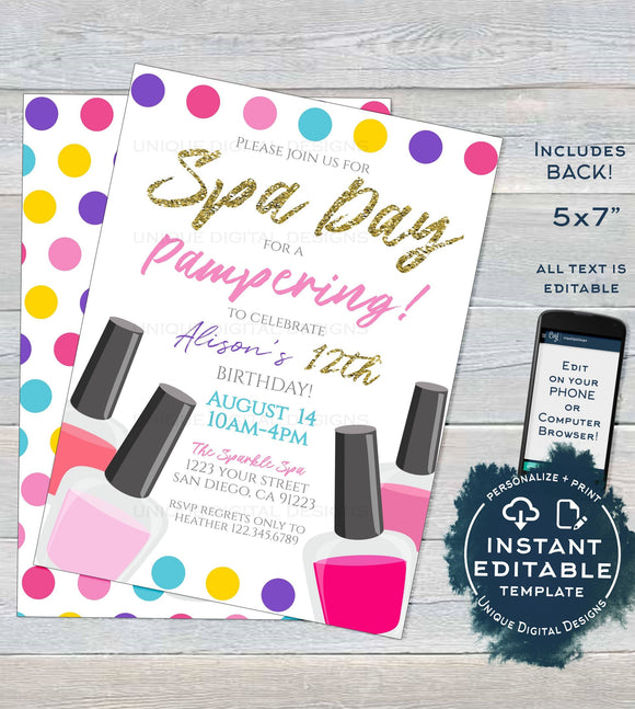 Editable Spa Party, Girls Day Out Invitation, Girls Spa Day Birthday Invite, Any Age, Sleepover Pink Party Printable INSTANT ACCESS 5x7