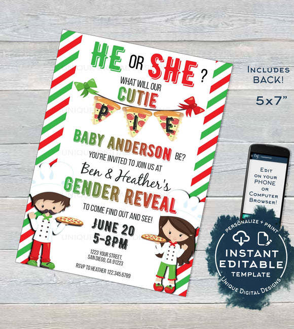 Pizza Party Gender Reveal Invitation, Editable He or She Cutie Pie Pizza Invite, What will Baby be Italian Custom Printable INSTANT DOWNLOAD
