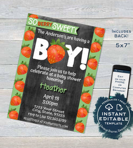 Strawberry Baby Shower Invitation, Editable So Berry Sweet Baby Boy Shower Invite, Berry Farmers Market Chalkboard, Printable