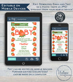 Strawberry Baby Shower Invitation, Editable So Berry Sweet Baby Shower Invite, Neutral Farmers Market Chalkboard, Printable INSTANT DOWNLOAD