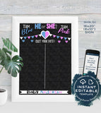 He or She Gender Reveal Party, Editable Cast your Vote Sign, What Will Baby Be Chalkboard Personalized Digital Printable INSTANT DOWNLOAD