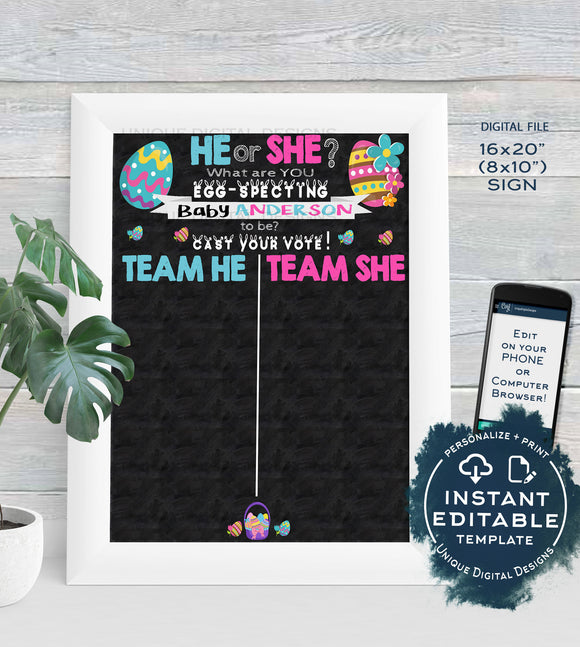 Gender Reveal Sign, Editable Easter Eggspecting Baby Chalkboard He or She Cast Your Vote Easter Bunny Personalize Printable
