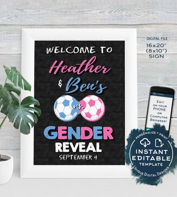 Soccer Gender Reveal Welcome Sign, Soccer GOAL Editable Gender Reveal Chalkboard What will Baby Be Custom Digital Printable INSTANT DOWNLOAD