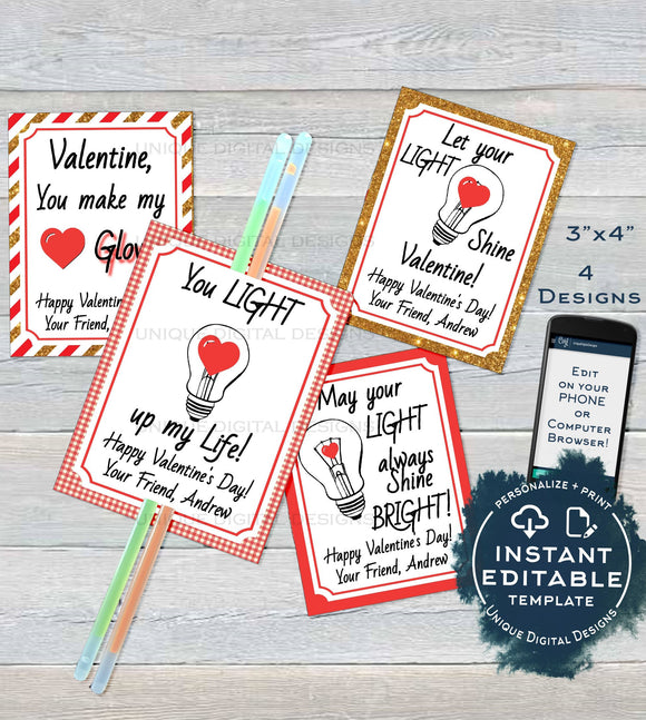 Valentine Card, Glow Stick Favor Tags, Kids Editable Valentines Cards Classroom, Light Up Valentines Day Printable