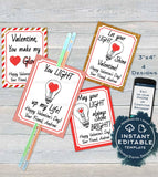 Valentine Card, Glow Stick Favor Tags, Kids Editable Valentines Cards Classroom, Light Up Valentines Day Printable Template INSTANT DOWNLOAD