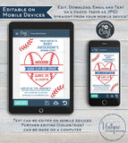 Editable Baseball Baby Shower Invitation, Baby Sprinkle Boy Invite, Homerun love, Baseball heart,  Custom Printable
