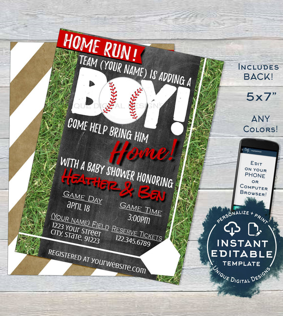 Baseball Baby Shower Invitation, Editable Boy Baby Sprinkle Invite, Home Run Base, Chalkboard Template Custom Printable INSTANT DOWNLOAD 5x7