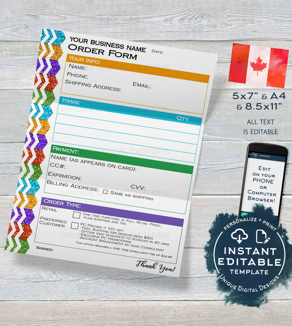 Editable CANADA Rodan and Skincare Business Order Form, Canadian Customer Form Consultant Business Launch Printable Digital INSTANT DOWNLOAD