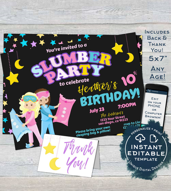 Slumber Party Invitation, Editable Girls Birthday Sleepover Birthday Party Printable Invite, ANY Age, Pajama Party Custom INSTANT DOWNLOAD