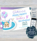 Editable Unicorn Pool Party, Slothicorn Invitation, Sloth Girls Birthday Pool Party Sloth-icorn Birthday, ANY Age Printable