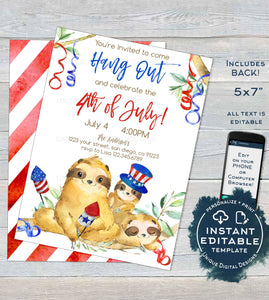 4th of July Sloth Invitation, Editable Backyard Grill Invite Slow Down Hang Out Sloth Party Custom Adult Printable Template INSTANT DOWNLOAD