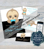 Sloth Baby Boy Ties, Editable Milestone Stickers for Boy, Photo Prop Bodysuit Monthly Sticker Chalkboard Printable Custom