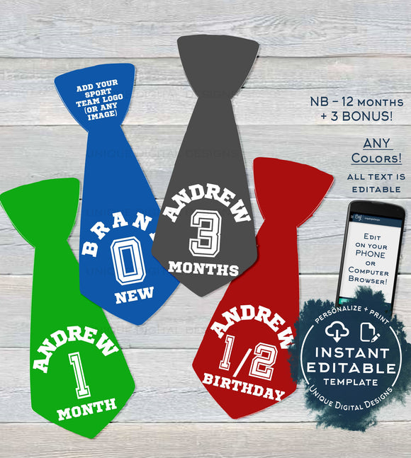 Sport Baby Boy Ties, Editable Milestone Stickers for Boy, Baby Photo Prop Bodysuit Monthly Sticker Digital Printable Custom