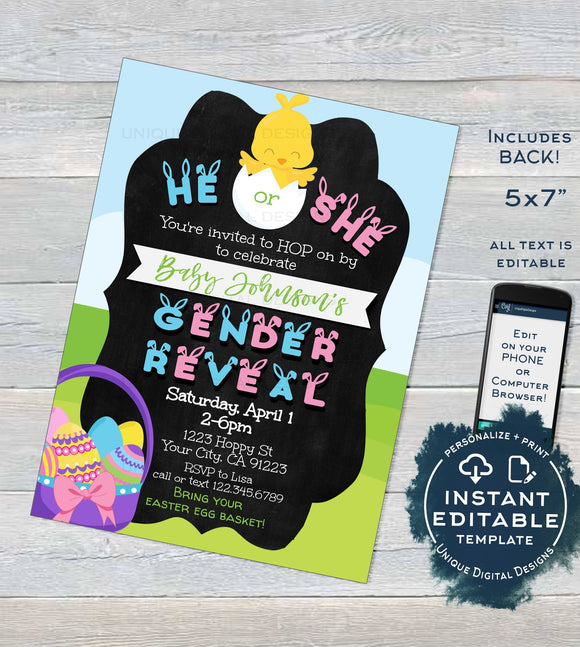 Easter Gender Reveal Invitation, Editable Easter Baby Shower, He or She Egg Hunt Happy Easter Personalized Custom Printable INSTANT DOWNLOAD