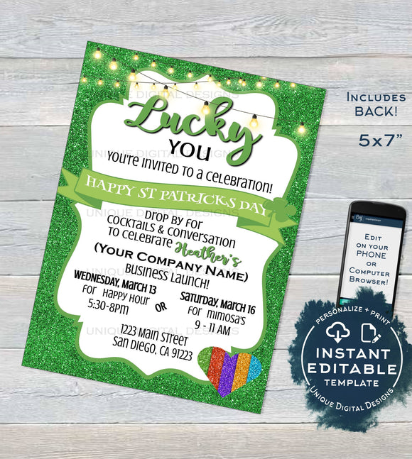 Rodan and Invitation, Editable New Consultant Business Launch Party, St Patrick's Day BBL Invite Green Cocktails, Printable INSTANT DOWNLOAD