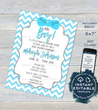 Boy Baby Shower Invitation, Editable Baby Sprinkle Invite, Oh Boy Little Man Baby Blue, Chevron Custom  Printable