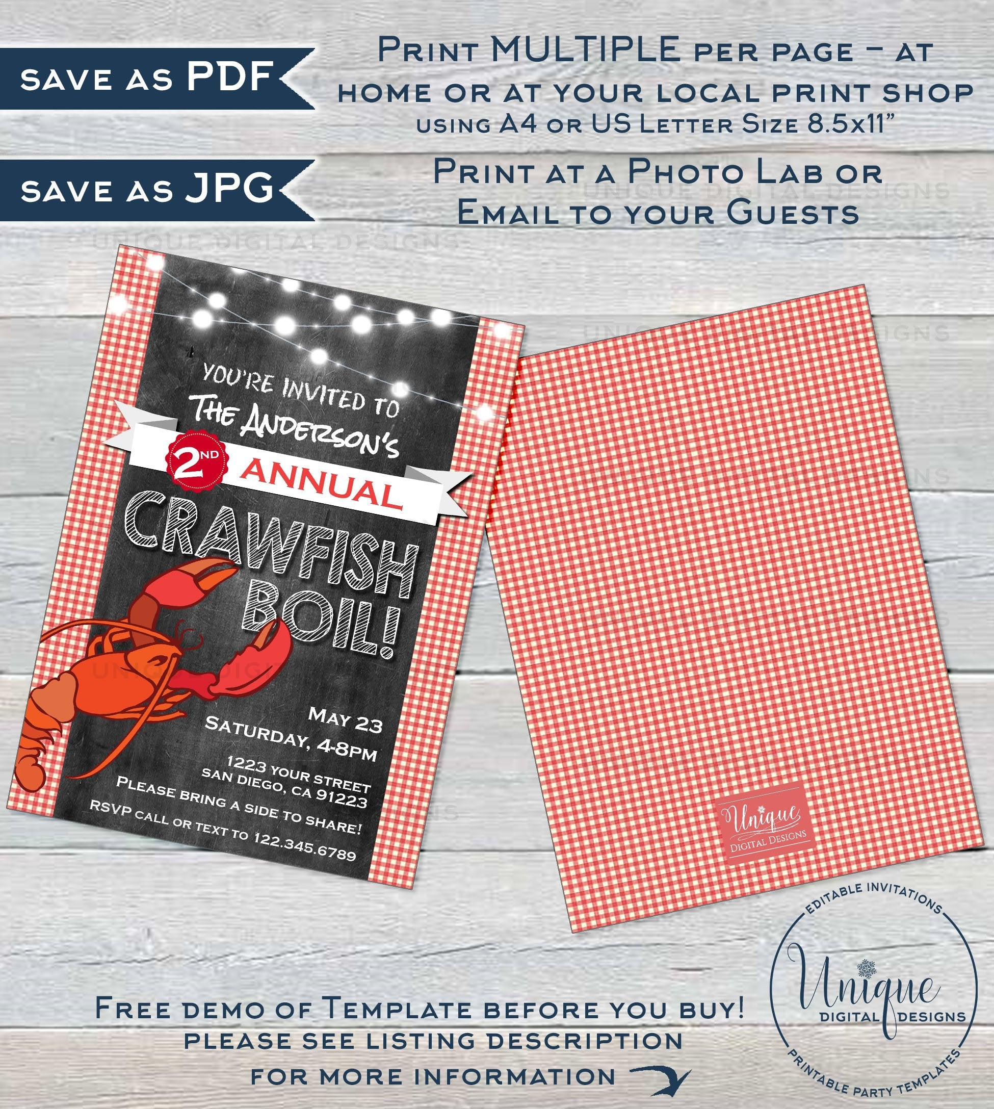 This is an image of Crawfish Boil Invitations Free Printable with regard to backyard