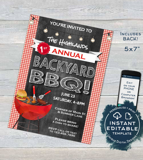 Backyard BBQ Invitation, Editable Neighborhood Summer Block Party Grill Out, hoa Community Street Party Print Personalized INSTANT DOWNLOAD