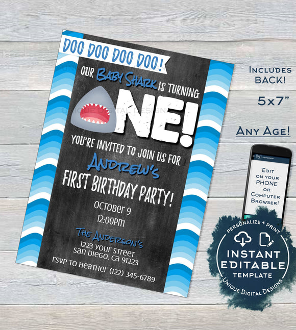 Baby Shark Birthday Invitation, Editable Boy 1st Birthday Invite, Baby Shark doo doo One Shark Week Fin, Printable Template INSTANT DOWNLOAD