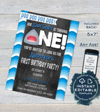 Baby Shark Birthday Invitation, Editable Boy 1st Birthday Invite, Baby Shark doo doo One Shark Week Fin, Printable