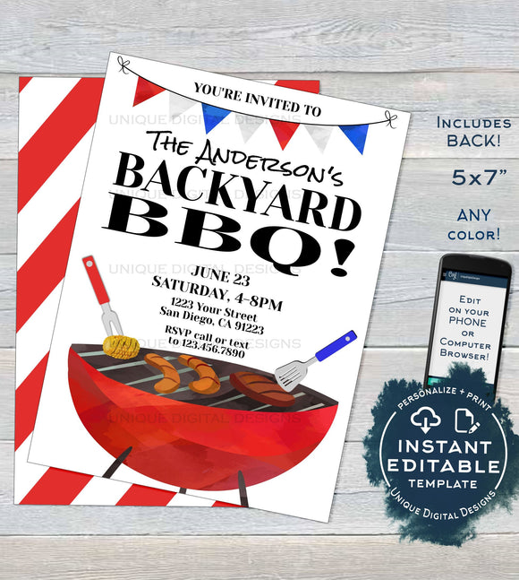 Backyard BBQ Invitation, Editable Neighborhood Summer Yard Grill Out, July 4th Barbeque Street Party Printable Personalized INSTANT DOWNLOAD