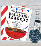 Backyard BBQ Invitation, Editable Neighborhood Summer Yard Grill Out, July 4th Barbeque Street Party Printable Personalized