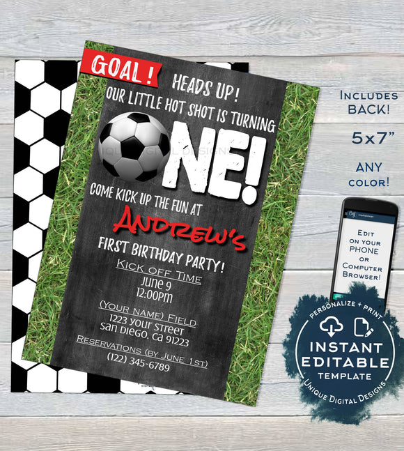 Soccer Birthday Invitation, Editable First Birthday Invite Score 1st Goal One Soccer Kick Off Chalkboard Template Printable INSTANT ACCESS