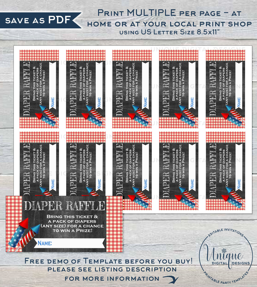 Babyq 4th Of July Baby Shower Invitation Kit Editable Diaper Raffle Books For Baby Invite Insert Thank You Firecracker Bbq Instant Access