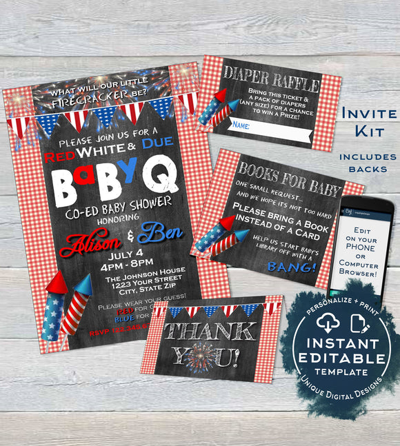 BabyQ 4th of July Baby Shower Invitation KIT, Editable Diaper Raffle Books for Baby Invite Insert Thank You Firecracker bbq INSTANT DOWNLOAD