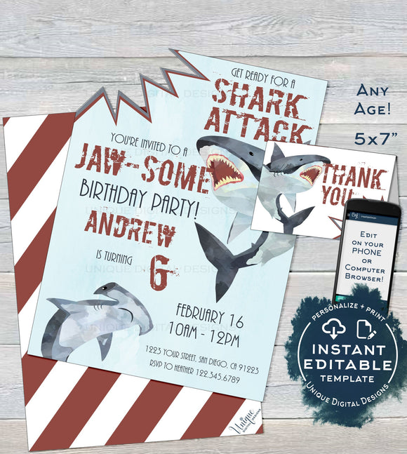 Shark Birthday Invitation, Editable Boy Birthday Invite Shark Attack Thank You Baby Shark Shark Week Fin Printable