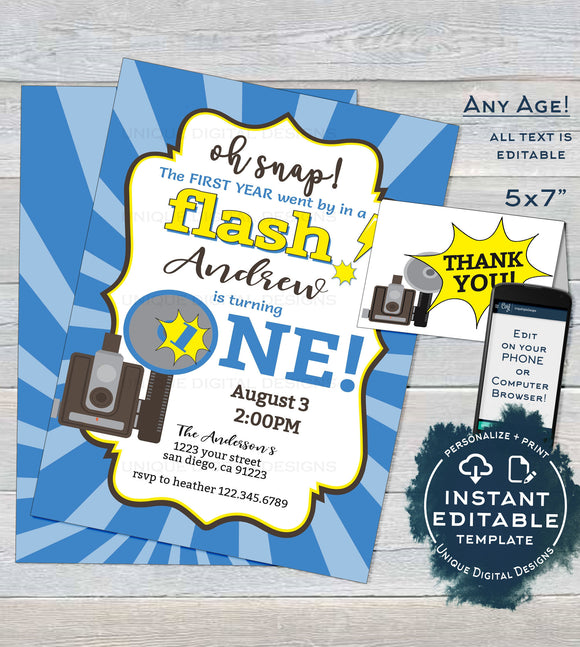 One in a Flash Birthday Invitation, Editable Oh Snap First Birthday Invite, Photo 1st Camera Film Party, Template Printable INSTANT ACCESS