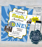 One in a Flash Birthday Invitation, Editable Oh Snap First Birthday Invite, Photo 1st Camera Film Party,  Printable