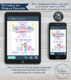 Slumber Party Invitation, Editable Girls Birthday Invite, Sleepover Birthday Printable Party, ANY Age Pajama Party Custom