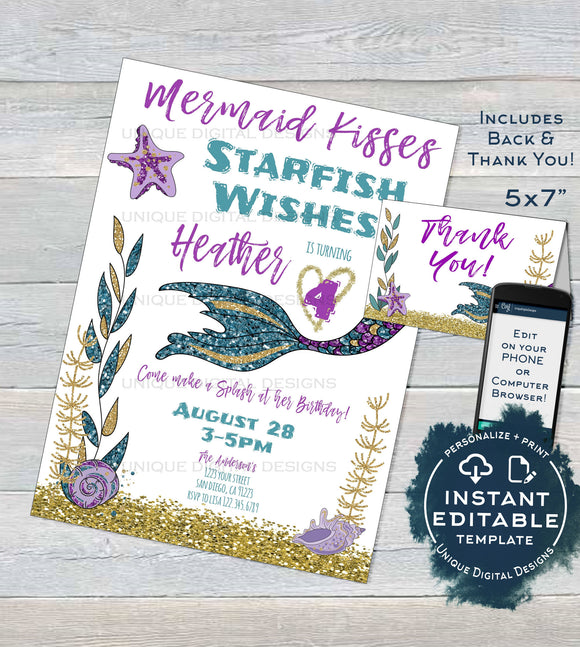 Mermaid Invitation, Editable Mermaid Kisses Starfish Wishes, Under the sea Glitter Girl Birthday Invite, Printable Template INSTANT DOWNLOAD