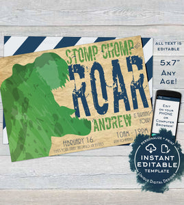Editable Dinosaur Birthday Invitation, Boys Stomp Chomp and Roar Party like a Dinosaur Invite, ANY Age, Printable Template INSTANT DOWNLOAD