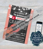 4th of July Block Party Invitation, Editable July 4th Street Party Flyer, Red White Blue Firecracker BBQ Neighborhood Print