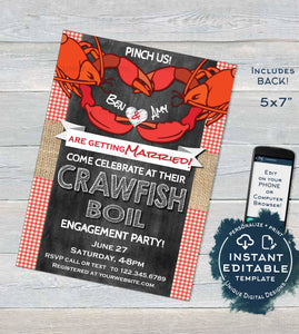 Crawfish Boil Invitation, Editable Crawfish Engagement Party Grill Pinch Us Lobster Bake Married Wedding Print Personalized