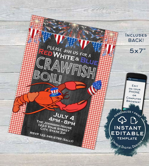 Crawfish Boil Invitation, Editable 4th of July Invite, Lobster Bake July 4th Party, Summer Backyard BBQ, Print Personalized INSTANT DOWNLOAD