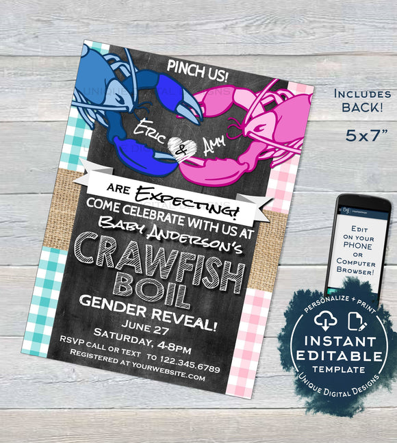Crawfish Boil Gender Reveal Invitation, Editable Boy or Girl Baby Shower Invite, Pink Blue He or She Lobster Bake Printable
