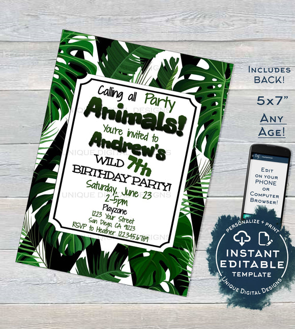 Party Animal Invitation, Editable Jungle Birthday Invite, Wild Child Tropical Party Fern, Chevron Custom Birthday Printable INSTANT DOWNLOAD