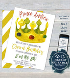 Crown Birthday Invitation, Editable Golden Birthday Invite, Turn Age of your Birthday, Boy Prince King, Template Printable INSTANT DOWNLOAD