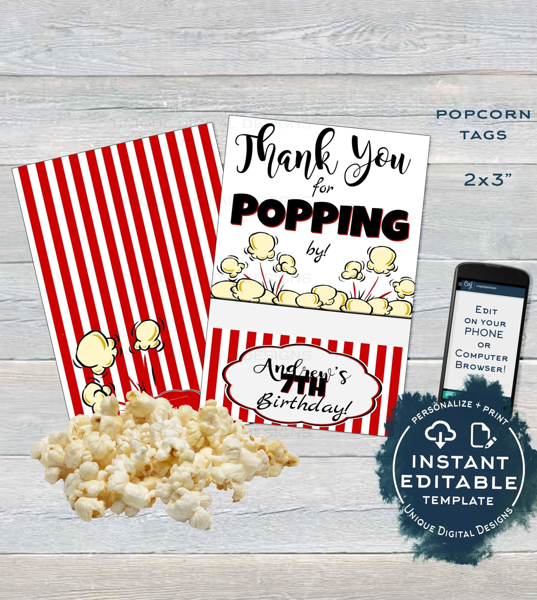 photo relating to Thanks for Popping by Printable referred to as Popcorn Tag, Editable Popcorn Social gathering Want Labels, Foodstuff Tag