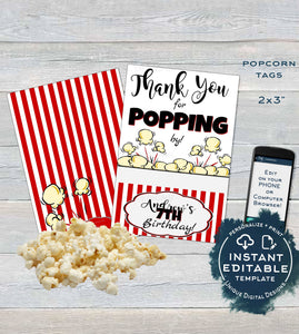 Popcorn Tag, Editable Popcorn Party Favor Labels, Food Tag Birthday Party Favor, Thank You for Poppin By Printable, Custom