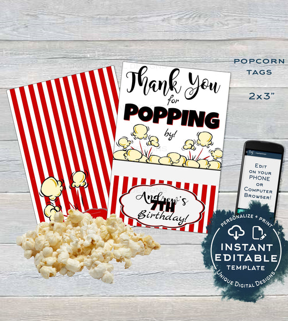 Popcorn Tag, Editable Popcorn Party Favor Labels, Food Tag Birthday Party Favor, Thank You for Poppin By Printable, Custom INSTANT DOWNLOAD