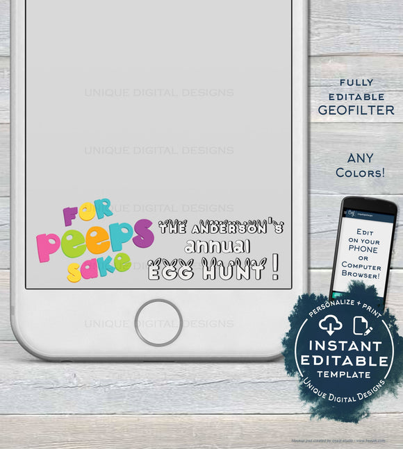 Easter Egg Hunt Snapchat Geofilter, Editable For Peeps Sake Eggspecting, Annual Egghunt Easter Party, Filter Personalize,