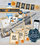 Basketball Baby Shower Invitation KIT, Editable Basketball Baby Boy Invite Suite, Touchdown Diaper Raffle Baby Books Insert INSTANT ACCESS
