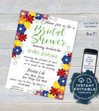 Flower Bridal Shower Invitation, Editable Spring Wedding Invite,  Spring Floral Bride Party summer, Personalized Custom Printable