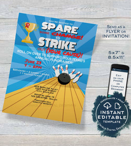 Bowling Fundraiser Flyer, Editable Bowling Ball Spare some change & Strike out Cancer Invitation, Pins Printable