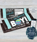 Egg-specting Baby Boy Candy Bar Wrapper Chocolate Bar Easter Baby Boy Shower theme decoration Printable  SelfEDITABLE 1.55oz