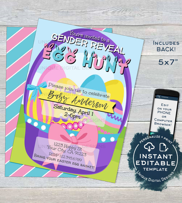 Easter Gender Reveal Invitation Easter Egg Hunt Baby Invite Baby Shower Hoppy Easter Personalize Custom Printable INSTANT Self EDITABLE 5x7
